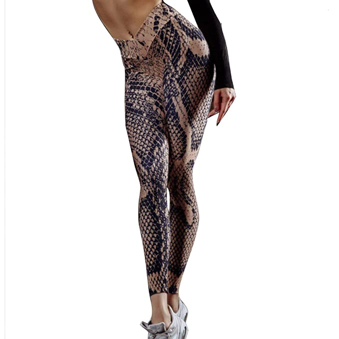 79e09fc6cec195 Yying Women Fitness Leggings Stretch Yoga Pants Serpentine Printed Tights  Sexy Slim Skinny Trousers for Workout Running Gym Outdoor Jogging Walking  ...