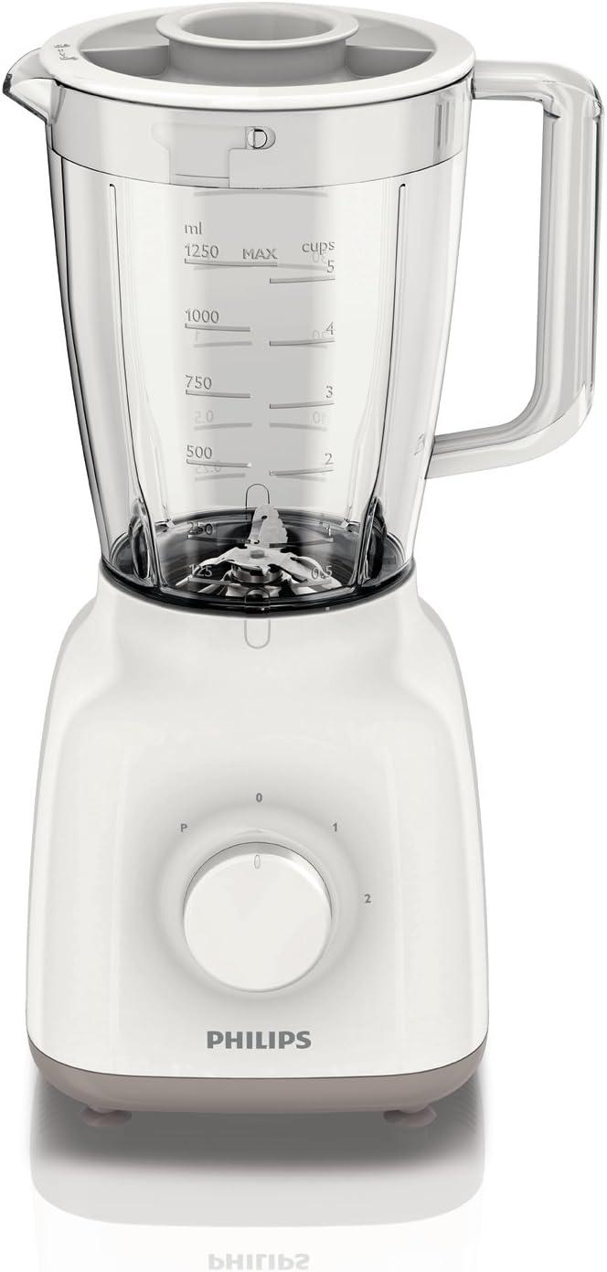 Philips Daily Collection HR2105/01 - Licuadora (1,5 L, Batidora de vaso, Beige, Blanco, 0,85 m, Vidrio, Polipropileno)