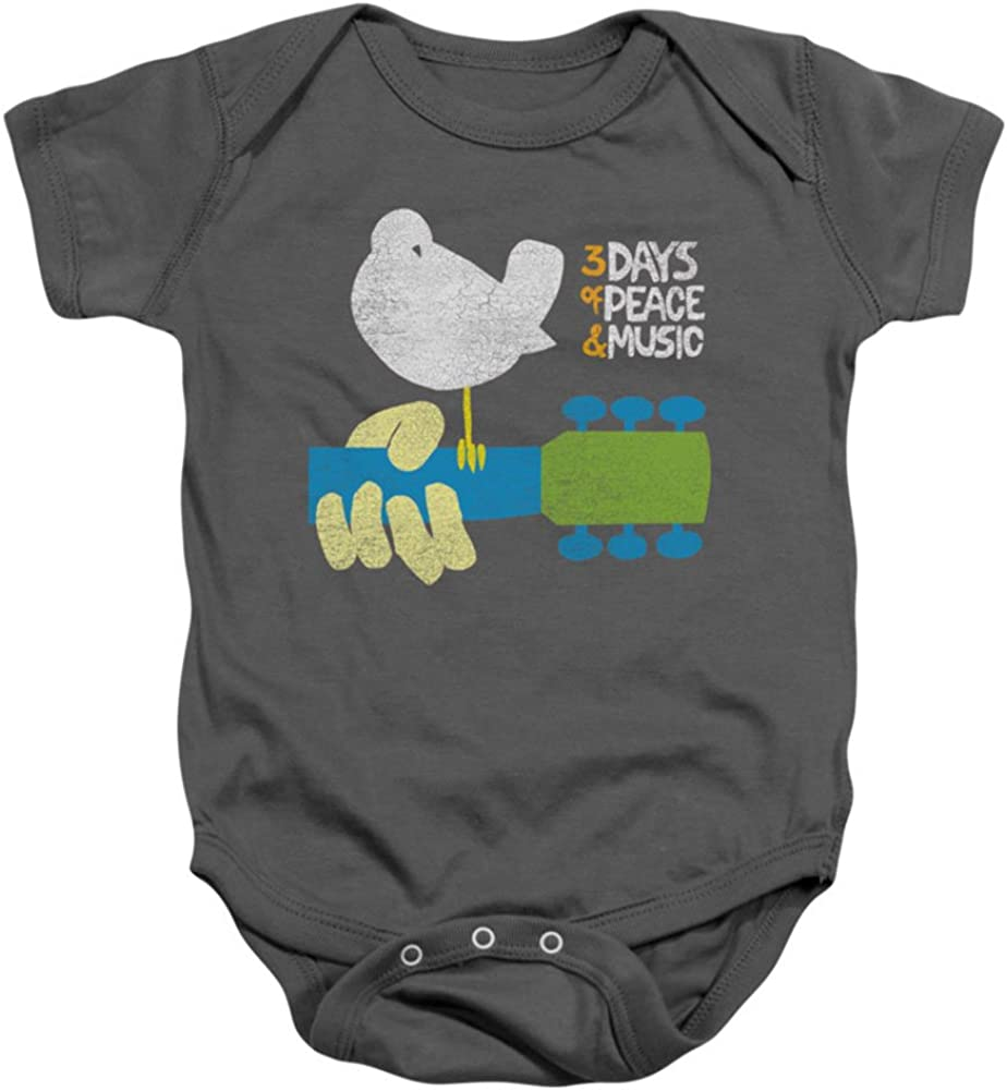 WOODSTOCK Music Festival 3 Days of Peace /& Music Bird Logo Baby Infant Snapsuit