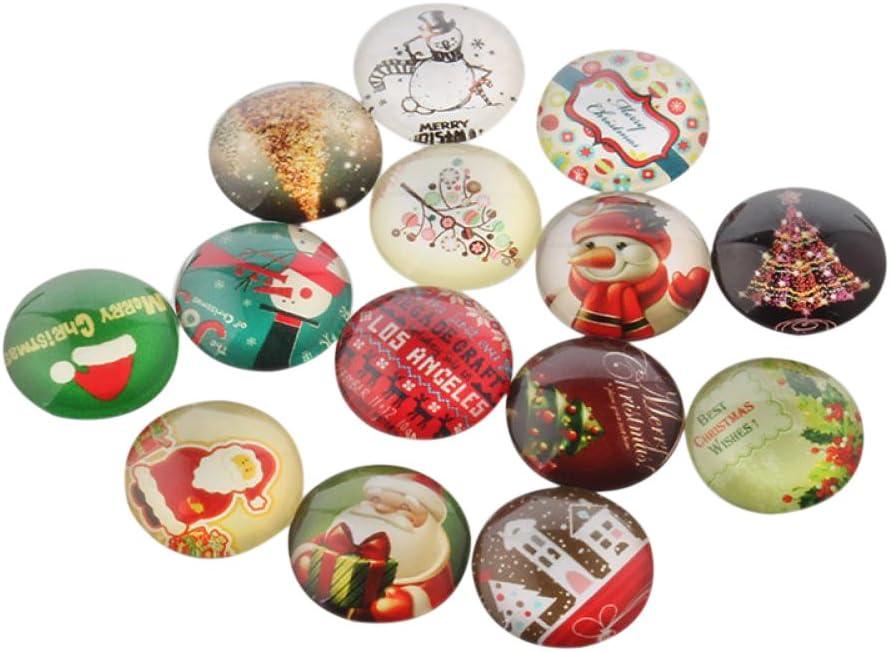 20Pcs Décorations de Noël demi ronde dôme Noël Photo Verre Cabochons 10x4mm