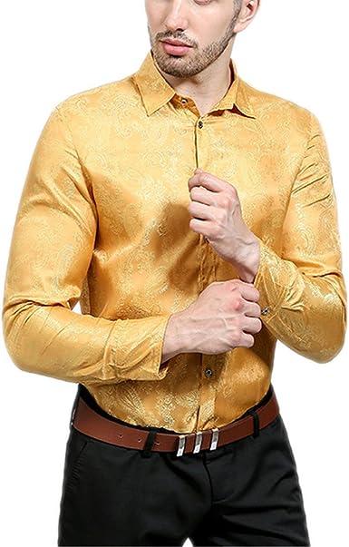 Camisa de Seda Brillante de Hombres Casual Long-Sleeved Algodón Camiseta Slim Amarillo M: Amazon.es: Ropa y accesorios