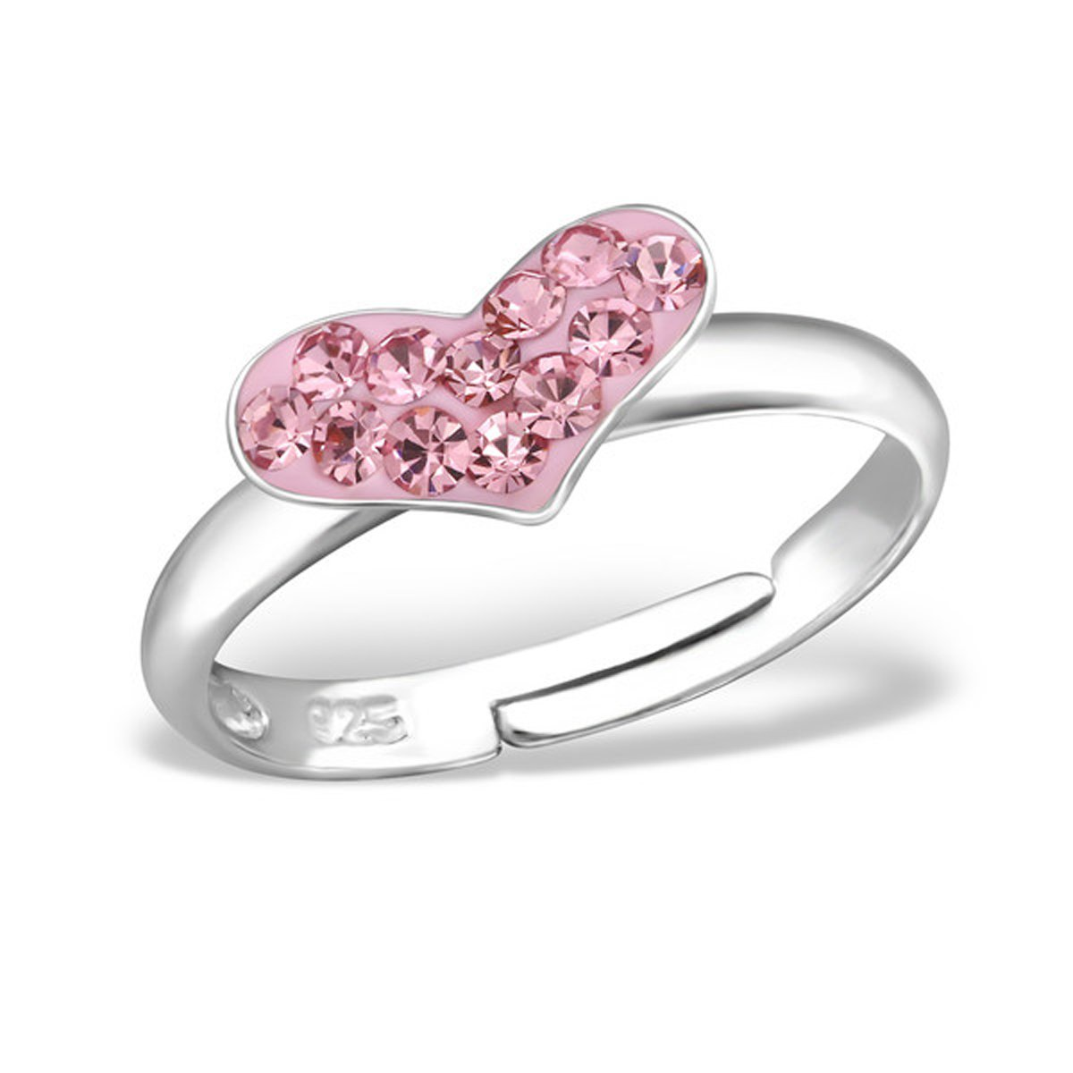 Cute Pink Crystal Heart Ring Size Adjustable 2-4 Girls Sterling Silver 925 (E15407)