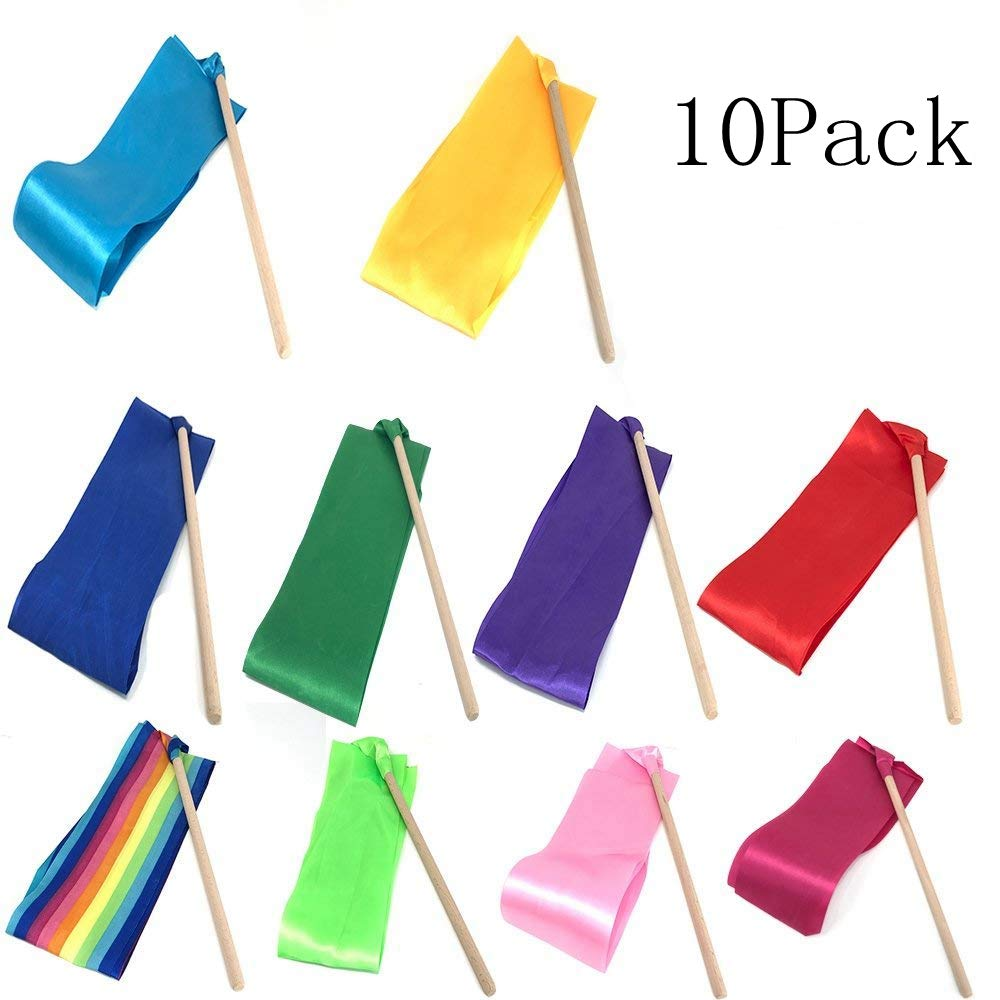 Dance streamers,ribbon wands,dance ribbons,rhythmic gymnastics ribbon,streamers twirling ribbon with wooden wand for kids art dances.Pack of 10 by Ymkf Sqqr (Image #1)