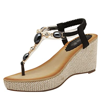 a6c5f50495cd YOUJIAA Women s Round Clip Toe Platform Wedge Heel Rhinestone Elastic T-Strap  Bohemia Roman Sandals