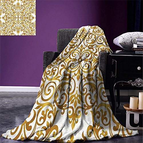 smallbeefly Kitchen Decor Digital Printing Blanket Victorian Golden Lace Antique Baroque Pattern Oriental Ottoman Royal Square Pattern Summer Quilt Comforter White Gold by smallbeefly
