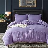 XIANIWTA Duvet Cover King, Washed Cotton Duvet Cover Set - 3 Piece (Purple, KING)