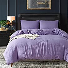 AiMay Pom Poms 3 Piece Duvet Cover Set (1 Duvet Cover + 2 Pillow Shams) Stone-Washed Brushed Luxury 100% Super Soft Microfiber Bedding Collection (Purple, Queen)