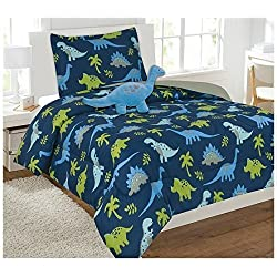 Elegant Home Multicolor Dark Blue Green Dinosaurs Jurassic Park Design 6 Piece Comforter Bedding Set for Boys/Kids Bed In a Bag With Sheet Set & Decorative TOY Pillow # Dinosaurs Blue (Twin Size)