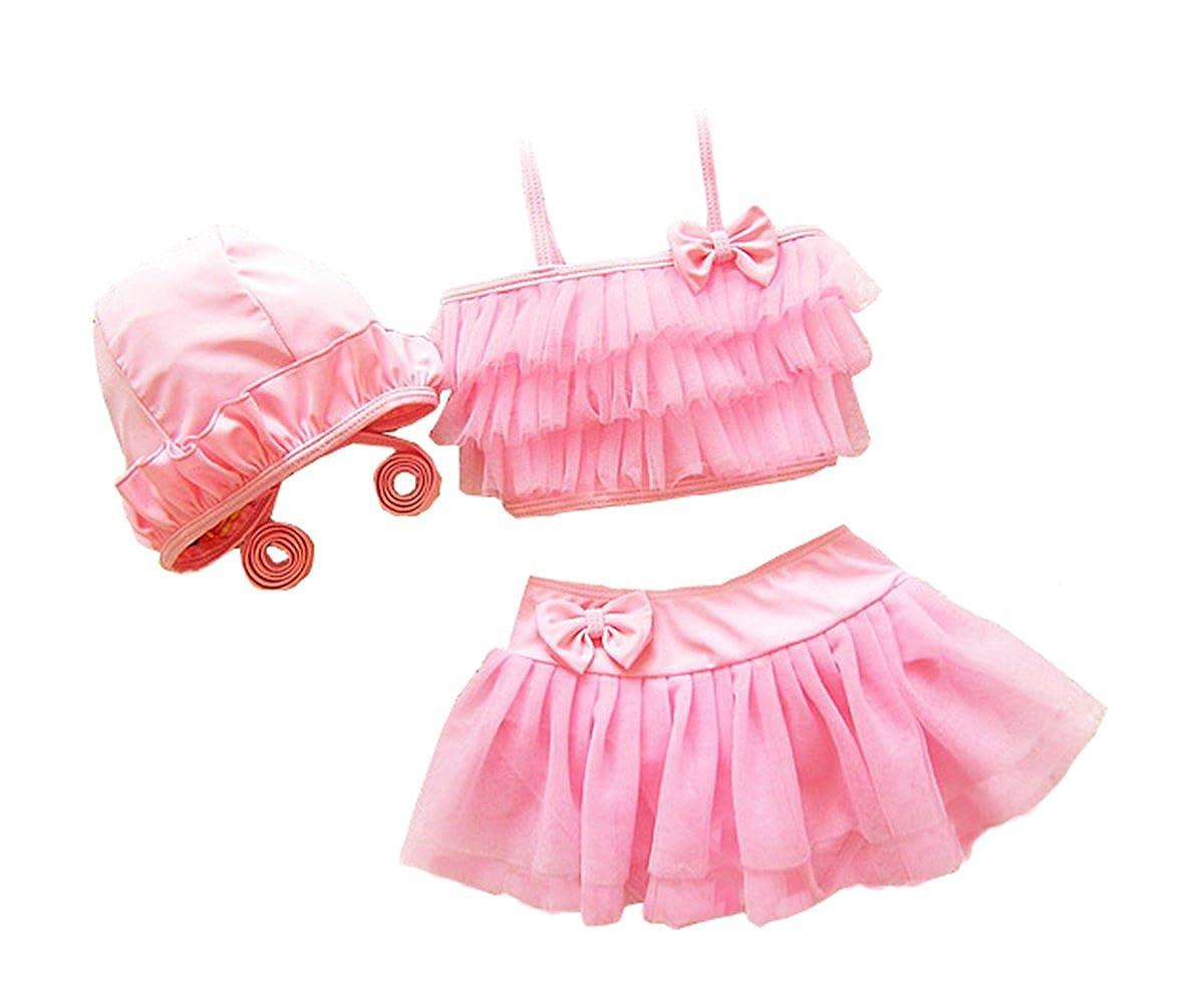 Taiycyxgan Girls Princess Lace Layer Swimsuit 2pc Bikini Beach Swimwear
