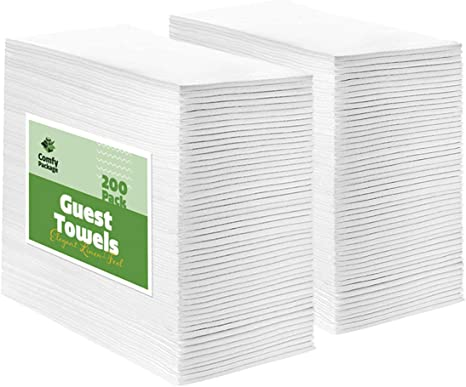 Amazon Com 200 Pack Linen Feel Guest Towels Disposable Cloth Dinner Napkins Bathroom Paper Hand Towels Wedding Party Napkins Kitchen Dining