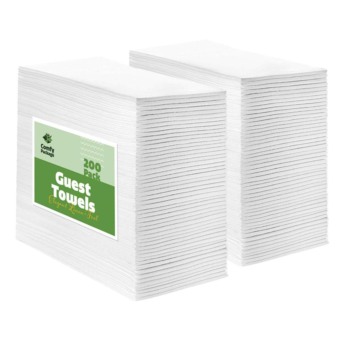 [200 Pack] Linen-Feel Guest Towels - Disposable Cloth Dinner Napkins, Bathroom Paper Towels
