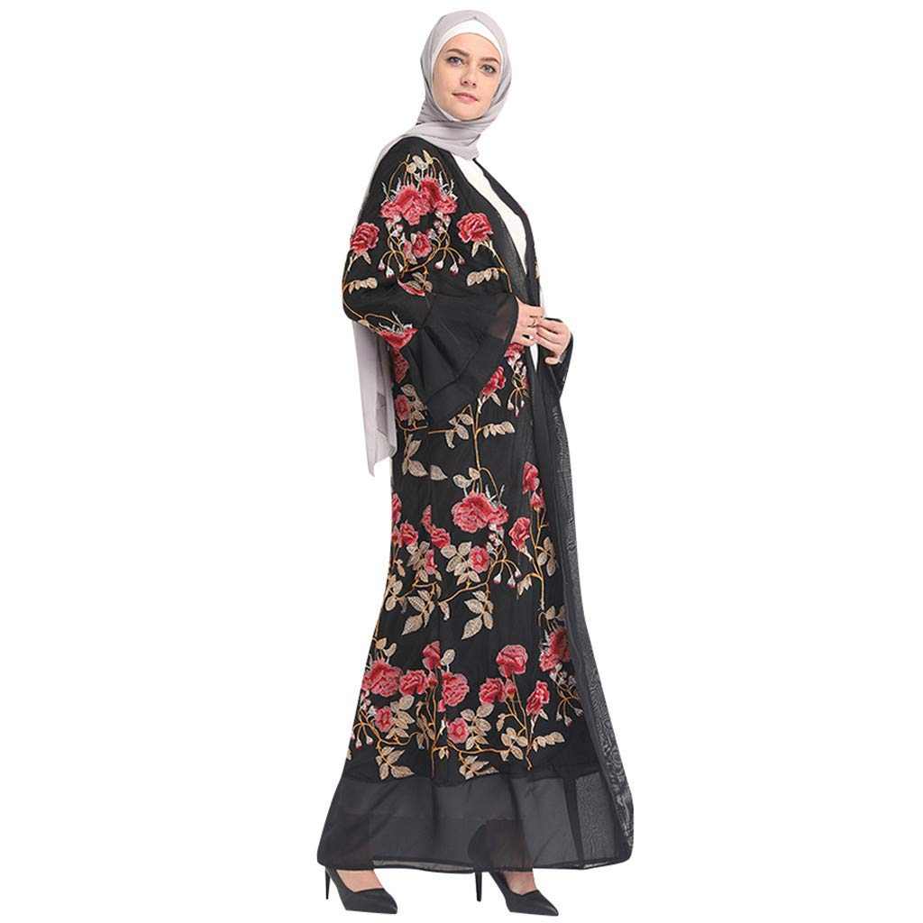 Red Bravetoshop Women Floral Printed Bell Sleeve Lace Long Dress Robe Open Abaya Cardigan Muslim Dubai Gown