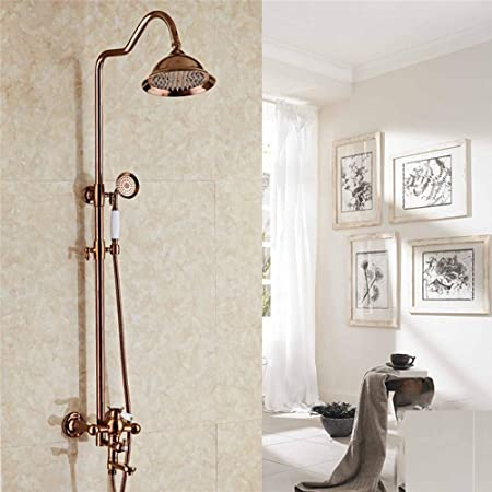 Bathroom Fixtures Durable Shower Head Set Titanium Rose Gold European Style Copper Faucet Antique Shower Bath Shower Supercharged Top Spray Set Color B Size Amazon Co Uk Kitchen Home