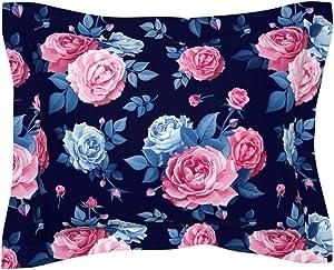 Roostery Pillow Sham, Floral Spring Rose Garden Nursery Modern Flower Pink Blue Foliage Print, 100% Cotton Sateen 30in x 24in Flange Sham