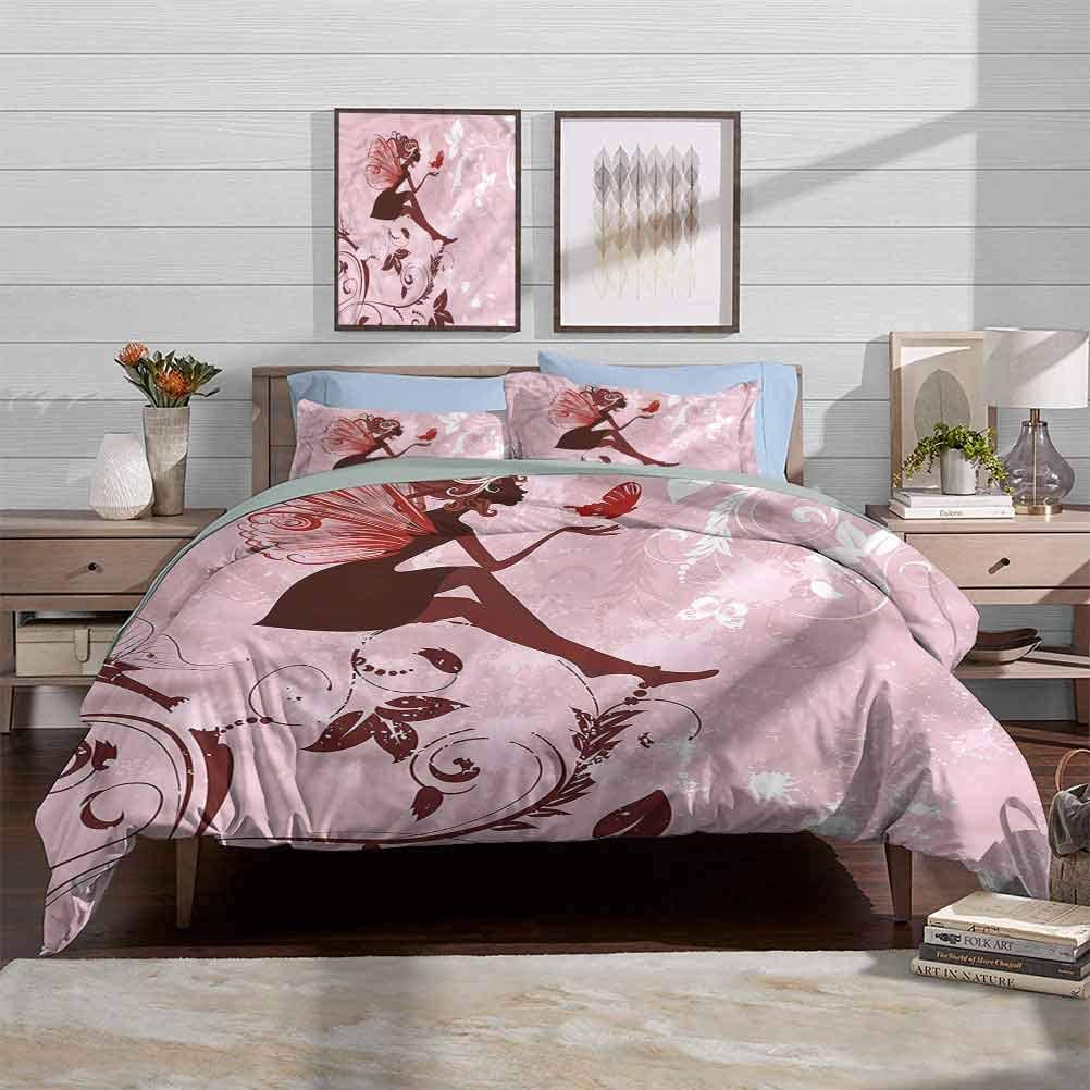 Duvet Cover Set Fantasy Machine Washable Hotel Bedding Silky Soft Dinosaurs Dragons Landscape Great Gift for Teens Kids Women Men Decorative 3 Piece Bedding Set with 2 Pillow Shams Twin Size