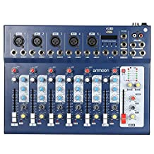 ammoon Digtal Mic Line Audio Sound Mixer Mixing Console with USB Input 48V Phantom Power 3 Bands Equalizer for Recording DJ Stage Karaoke Music Appreciation F7-USB 7-Channel