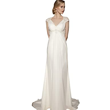 dressvip Deep V-Neck Cap Sleeves Sweep Strain White Chiffon Evening Dresses Long for Women
