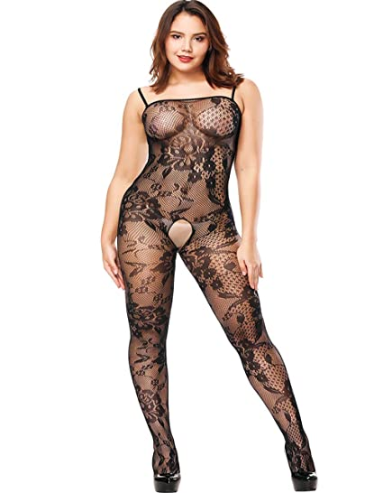 48de730b8 Amazon.com  LemonGirl Women Strap Lingerie Bodystockings Fishnet Bodysuit  Stockings One Size  Clothing