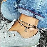 c4686e9a Jovono Boho Sequins Anklets Crescent Moon Tobilleras Pulseras Fashion Beach  Foot Jewelry para mujeres y niñas
