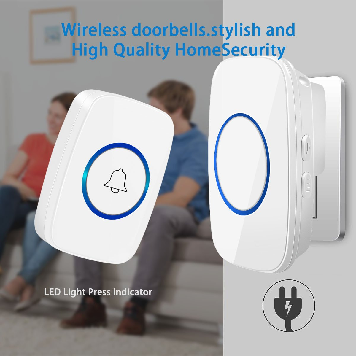 Wireless Doorbells for Home-[Upgraded 2018] Waterproof Doorbells Transmitter for Home and Office at 1300feet Range,52 Doorbell Chimes 5 Volume 1 Transmitter 2 Receivers by MICKYMIN (Image #7)
