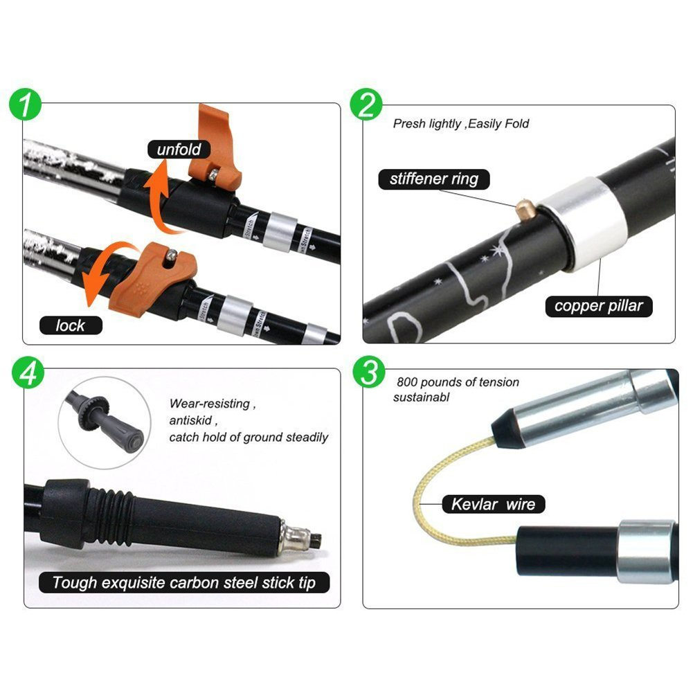 PACELEADER 1PCS Collapsible Trekking Pole with Adjustable Wrist Straps for Hiking