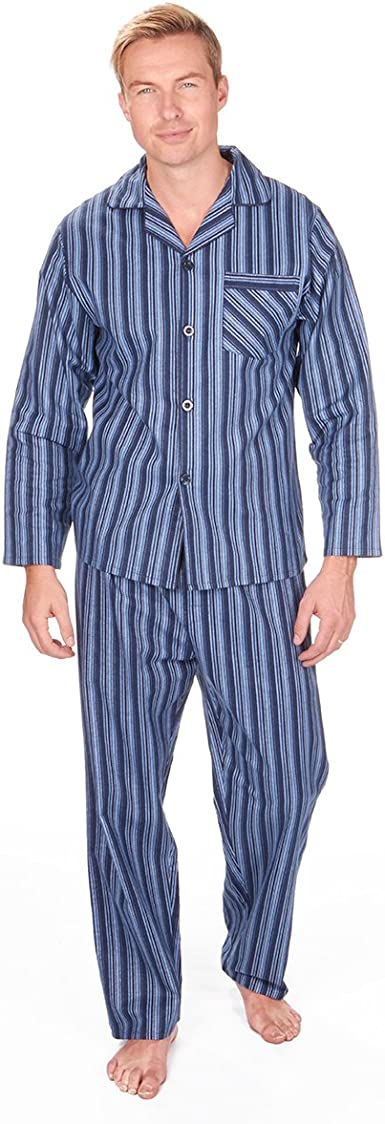 Cargo Bay Hombre Juego de botón de Franela Pijama 100% algodón PJ Pijamas y Pantalones