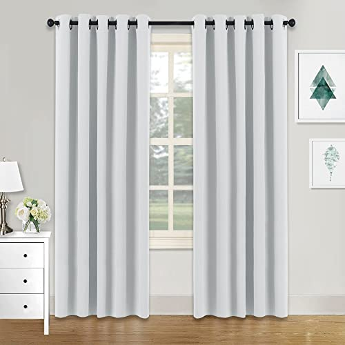 PONY DANCE Eyelet White Curtains   Room Darkening U0026 Energy Saving Solid  Blackout Window Treatment Curtain