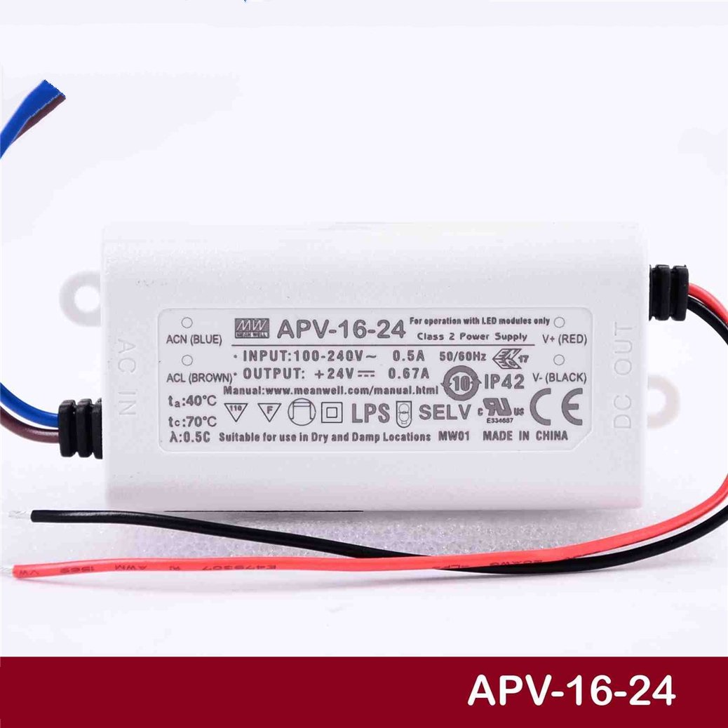 MEAN WELL Original APV di 16  –   24  24  V 0.67  a Meanwell APV di 16  24  V 16.8  W Single  –   Produzione LED Cambiare STROMVERSORGUNG