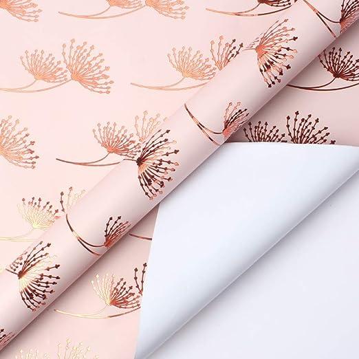 CHANG-dq Papel de regalo de flores, papel de embalaje de ...