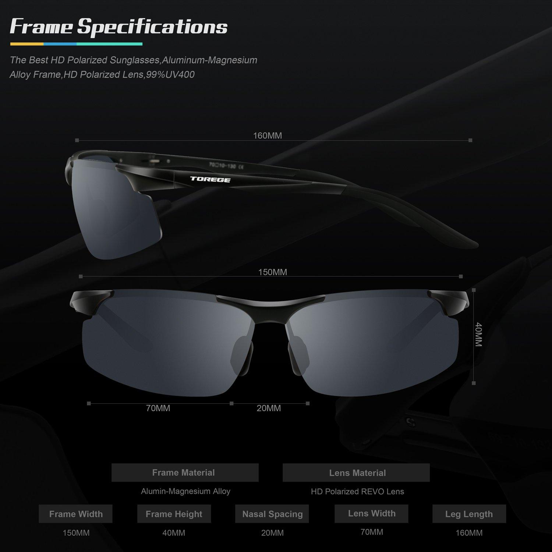 TOREGE Mens Sports Style Polarized Sunglasses Al-Mg Metal Frame Glasses M291