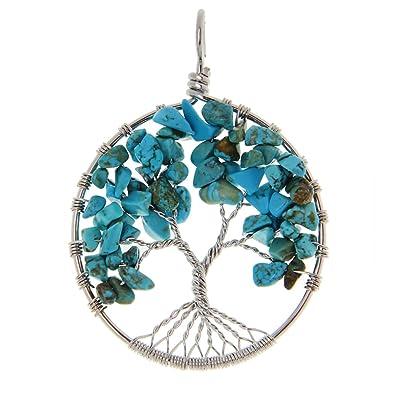 Collar Doyeemei /árbol De La Vida Cura Cristalina Del Abrigo Del Alambre Piedra Preciosa Natural Fit Colgante