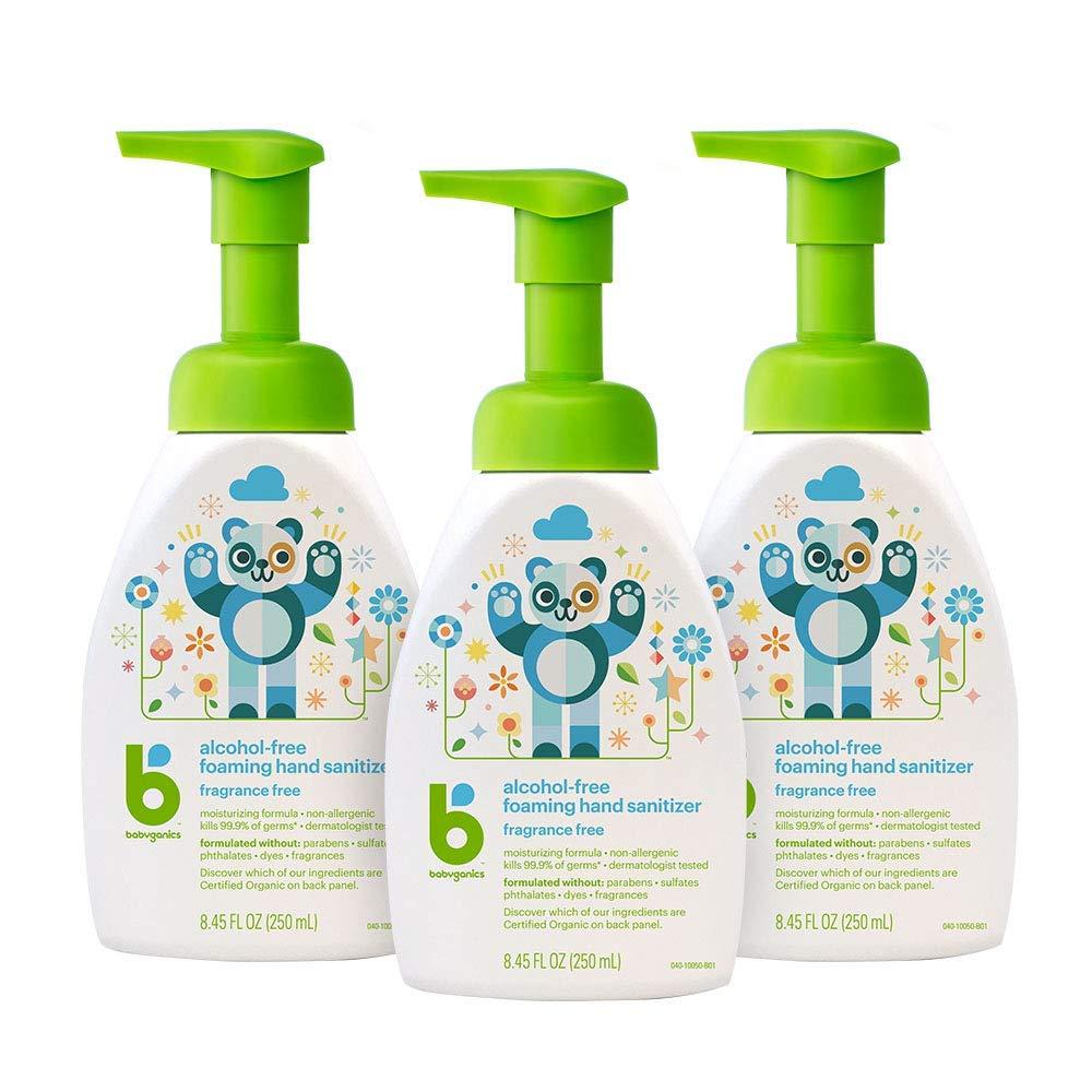 Babyganics Alcohol-Free Foaming Hand Sanitizer, Pump Bottle, Fragrance Free, 8.45 oz, 3 Pack, Packaging May Vary by Babyganics