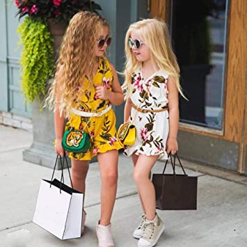 39c4e56534e7 Amazon.com  Romper for Girls Sleeveless Floral Print Jumpsuit Tops ...