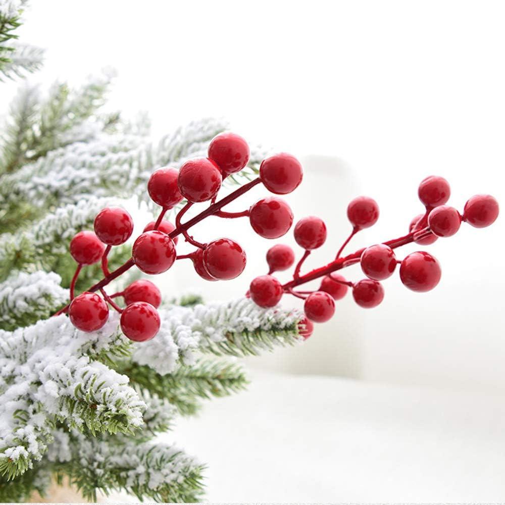 YQing 14 Pezzi Rami Bacche Rosse Natale Decorazioni Bacche Rosse Ramo Decorative per Albero di Natale per Artigianato Vacanze e Decorazioni Oro