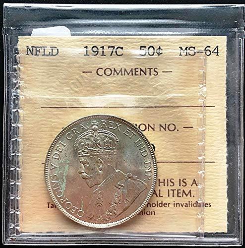 1917C NEWFOUNDLAND SILVER 50 CENTS HALF DOLLAR COIN ***ICCS GRADED MS 64*** (Newfoundland Coin)