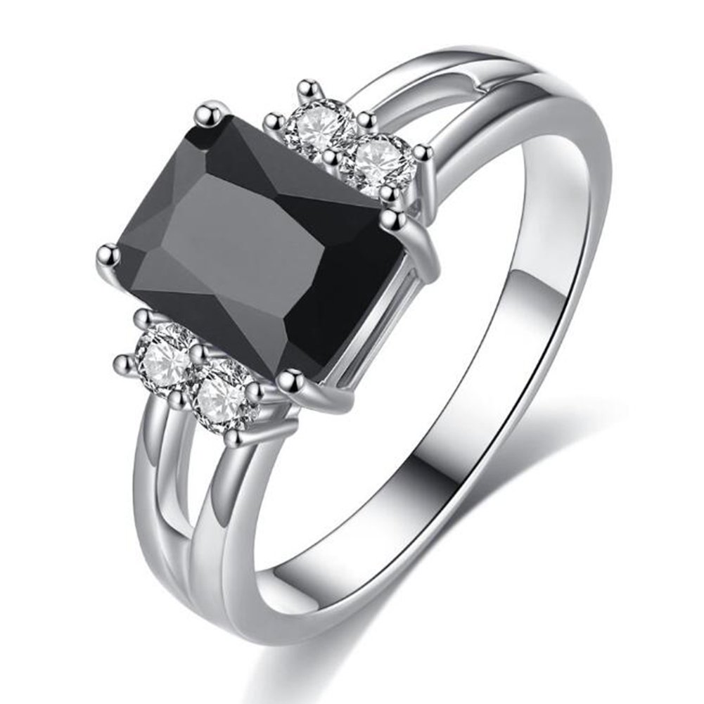 TEMEGO Large Square Onyx Emerald Cut Ring,14k Silver White Gold Split Shank CZ Engagement Ring,Size 6