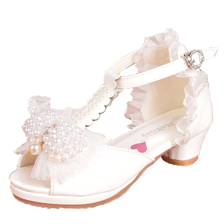 OPSUN Sandales à bride Enfants Filles Chaussure Cérémonie Ballerines à bout  ouvert Mariage Escarpin plat Babies 257b86b4a776