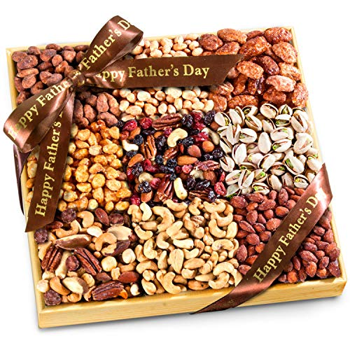 Almond Cherry Toffee - Father's Day 3 Lb Nuts Extravaganza Gift in Wooden Tray