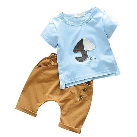 luerme bebé joven algodón – Camiseta + pantalones cortos niños pequeños Niños bekleidungs Juego paraguas patrón