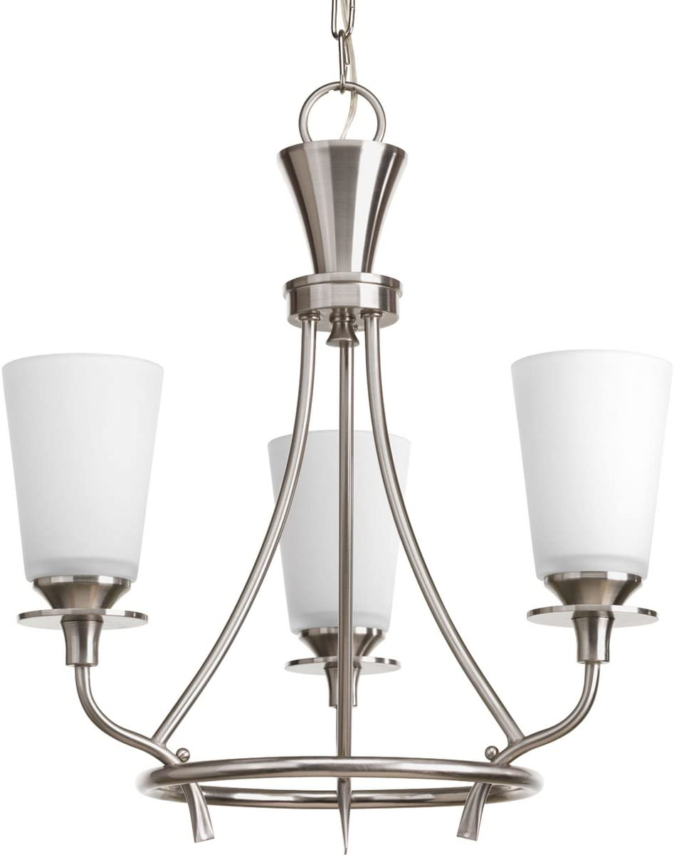 Progress Lighting P4005-09 Traditional Three Light Chandelier from Cantata Collection in Pwt, Nckl, B S, Slvr. Finish, Brushed Nickel