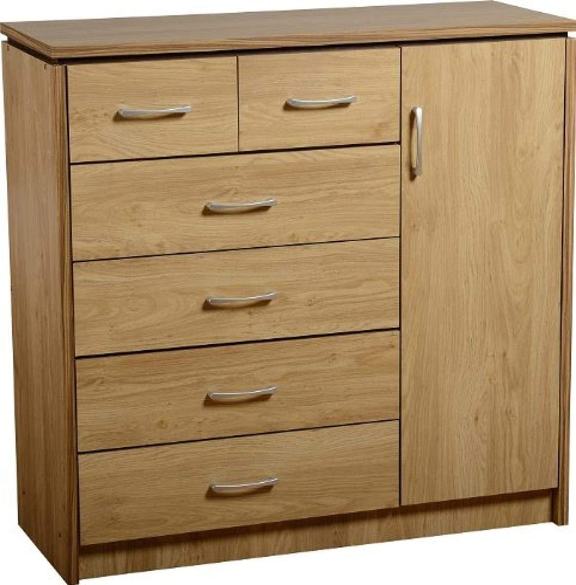 Seconique Charles 1 Door 6 Drawer Chest, Oak Effect with Walnut Trim, 524.95x1229.95x174.95 cm