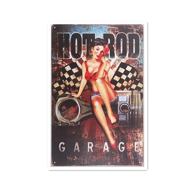 Hot Rod Garage Retro Cartel de Chapa Coffee Póster Bar Cafe ...