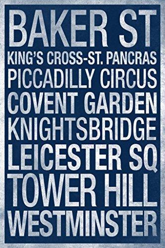 (London Underground Blue Art Print Mural Giant Poster 36x54 inch)