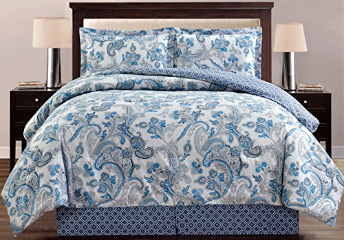 4-Piece Fine printed Oversize Comforter Set Reversible Goose Down Alternative Bedding QUEEN Size (Grey, Black, White, Blue, Paisley) (Black And Sets Bedding Blue)