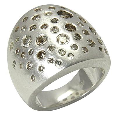 819c834a3554 Anillo de diamante plata oro herrero trabajo (Plata de ley 925) - Anillo de  diamante 3 quilates Cielo estrellado - con Expertise  Amazon.es  Joyería