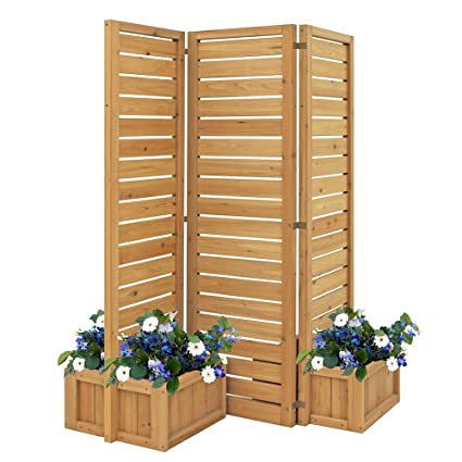 Yardistry 5' Outdoor Wood Privacy Screen with planters