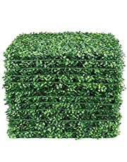 Lackingone 12PCS 20x20 inch Artificial Grass Wall Backdrop, Fake Green Plant Flowers Wall Decor, Faux Boxwood Hedge Privacy Screen, Greenery Living Wall Panels UV Protected for Indoor Outdoor Garden Fence