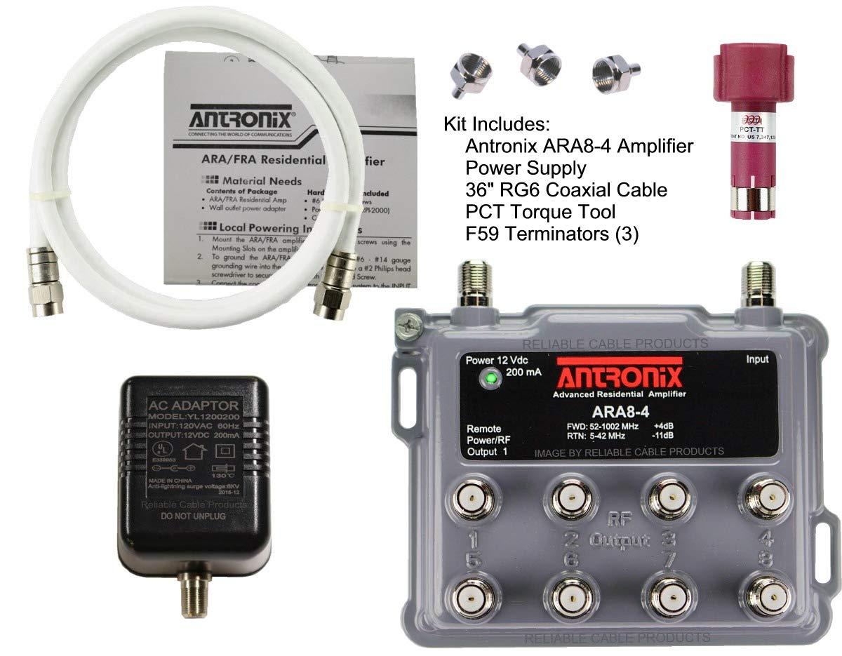 Antronix ARA8-4 8ポート 双方向ケーブル テレビ OTA HDTV アンプ スプリッター 信号ブースター パッシブリターン 同軸ケーブル F59 ターミネーター B07R4C8TRP