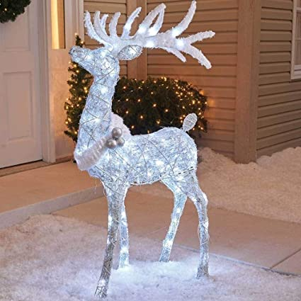 holiday home outdoor 48 cool white twinkling buck deer christmas yard lawn decoration garden sculpture - White Deer Christmas Decoration