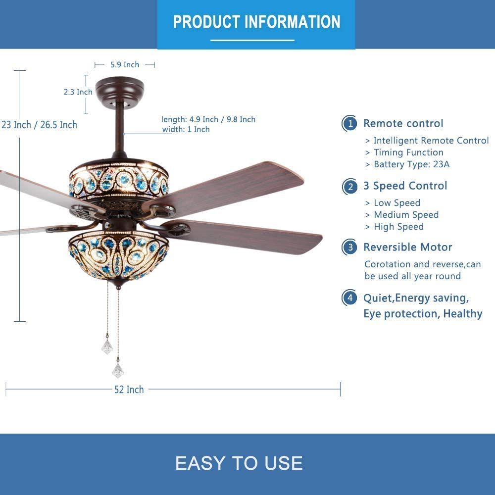 RainierLight Crystal Ceiling Fan Lamp LED Light for Bedroom Living Room Hotel Restaurant with 5 Premium Wood Reversible Blades Remote Control 52 Inch